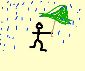 Man under a umbrella