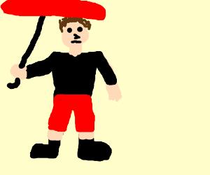guy with umbrella