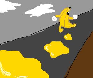 A puddle of banana pee