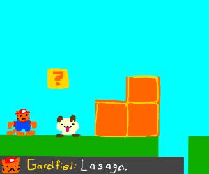 garfield, lost in a super-mario game