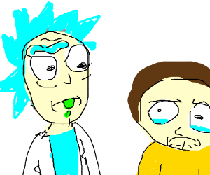 rick and morty in the style of doodle doods - Drawception