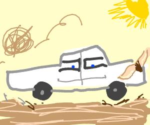 Cowboy car with face