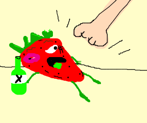 strawberry is drunk and beat up
