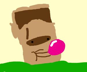 easter island statue chews bubble gum