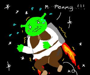 Terrified Shrek flying in space w/ rocket pack