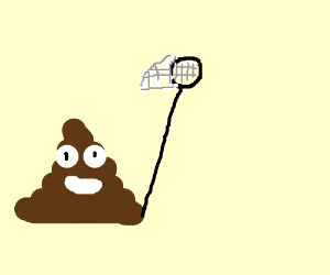 Poop emoji with a net