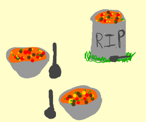 bowls of soup but one is a grave stone i guess
