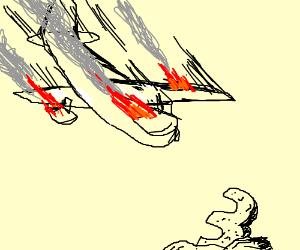 airplane on fire flying towards big three rock