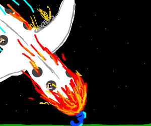 fiery plane crashes into three