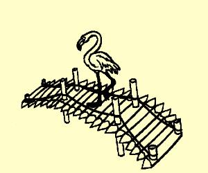 flamingo sitting on a bridge