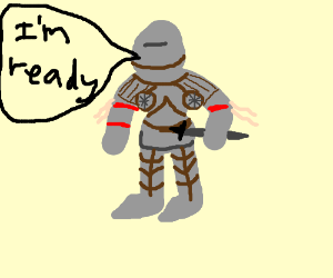 a knight getting ready to fight