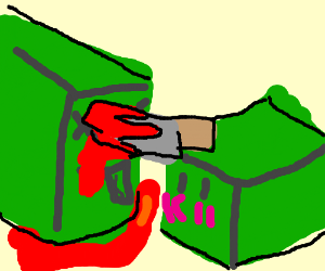 little green box dude stabs a bigger guy