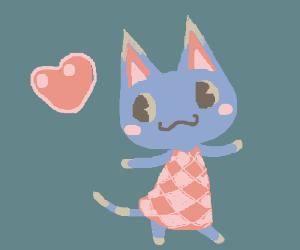 blue kawaii cat in a pink dress
