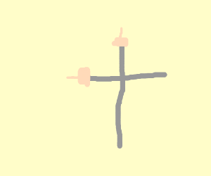 rick's arm forming a cross