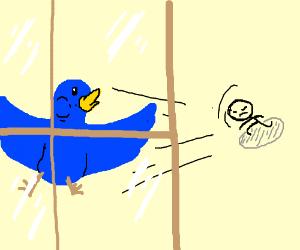 Throwing a blue bird