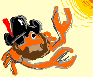 pirate crab who is fighting the sun drawception