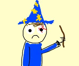 Kid magician's eye hurts