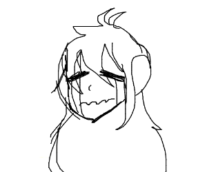 black and white anime character crying