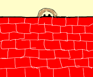 A girl trapped behind a wall