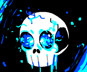 A skull with blue in it.