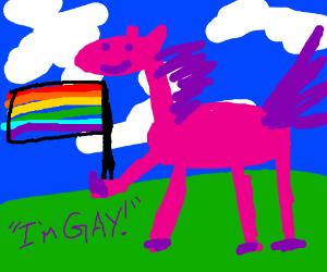 A gay pony holding a rainbow flag