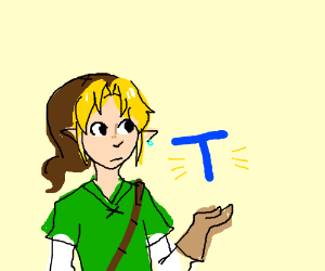 Link with a brown cap holding the letter T