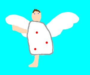 angel with 1 arm and 1 leg with 3 red dots