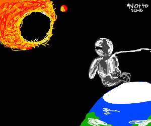 Astronaut watches a solar eclipse.