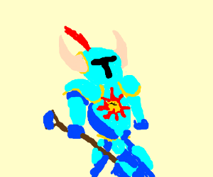 Shovel Knight with a sun emblem on chest.