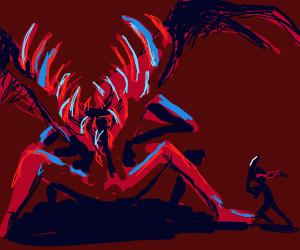 ninja challenging a serpent/dragon