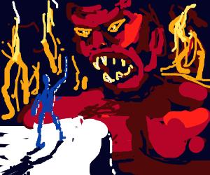 An epic battle between man and satan