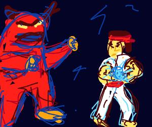 Ryu (Street Fighter) fighting a massive demon