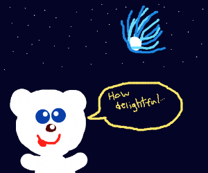 Teddy describes incoming asteroid with delight