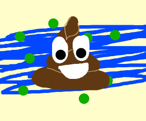 Poop emoji over blue streaks and green bckrnd