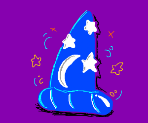 A blue wizard's hat all by itself