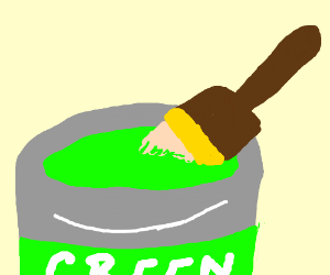 paint and paint brush in container
