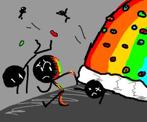 several stickmen run from skittles rainbow