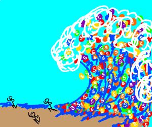 It's a tsunami of skittles! Run!