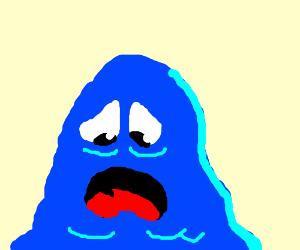 sad blue slime