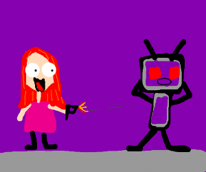 giel w. red hair happily shooting purple robot