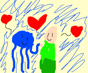 Jelly fish and man in a relationship in sea