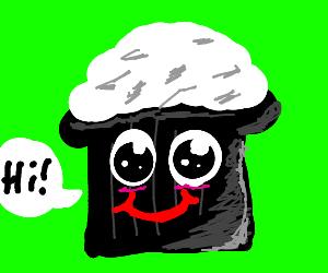 """Happy chocolate cupcake says """"HI"""""""