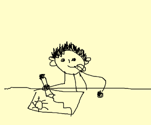 A young boy who is eight years old drawing