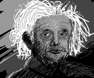Detailed portrait of Albert Einstein