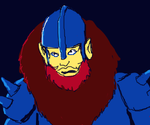 Red beast in blue armor