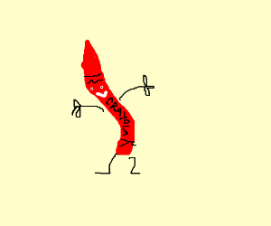 Skinny red hairy crayon with limbs and face.
