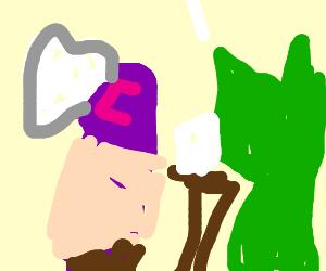 purple shrek and green pikachu eating chinese