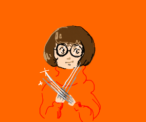 Velma (from Scooby Doo) with Volverine claws