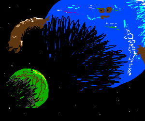 Cute planet opens arms to hug small green one