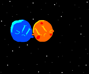 Gay planets cuddle while sad.